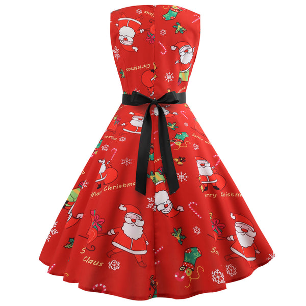 Santa Claus Print Long Sleeve Christmas Dress with Ribbon