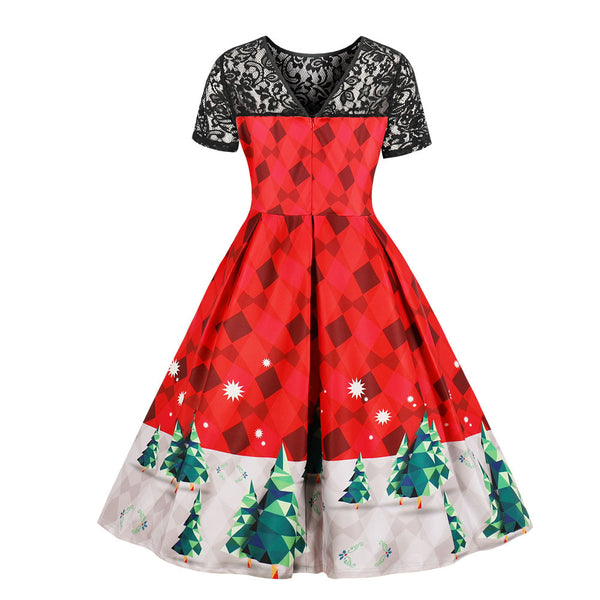 Plus Size Lace Stitching Print Christmas Vintage Dress (L-4XL)