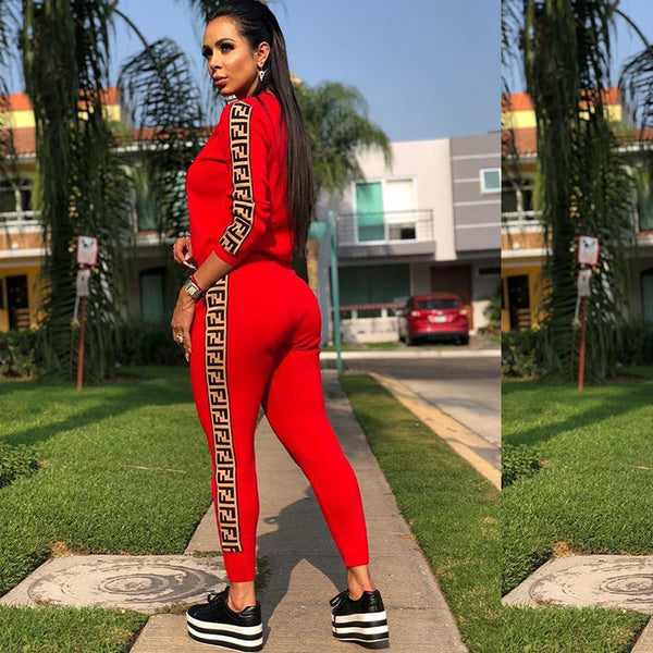 Sequins Letter Printed Two Piece Tracksuit Outfits Jumpsuits Sweatsuit Set