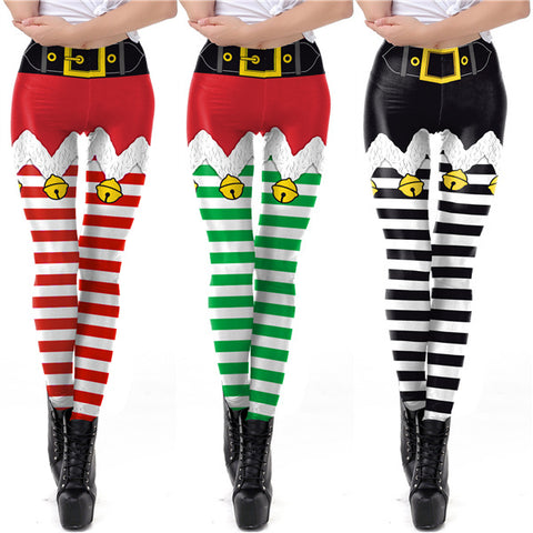 Women Christmas Striped Print Active Tight Leggings Sweatpants Pajama Pants