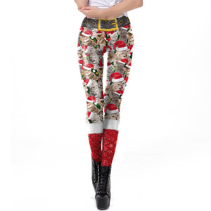 Christmas 3D Kitty Print Tight Leggings