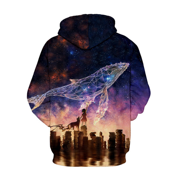 Virtual Shark Printed Pullover Hooded Sweatshirt
