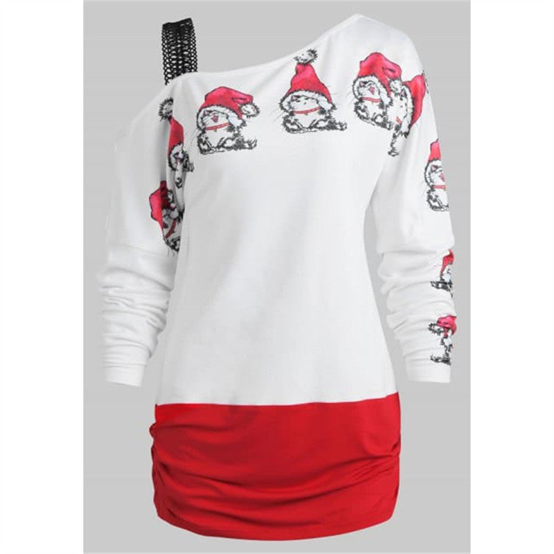 Santa Claus Print Cold Shoulder T-shirt