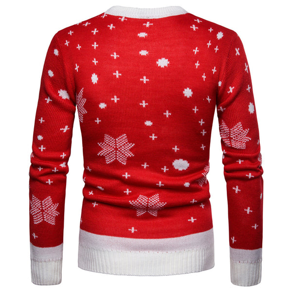 Christmas Cute Elk Covered Print Round Neck Sweater