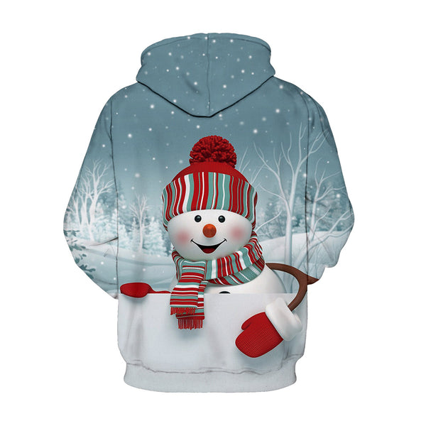 Snowman Christmas Printed Hooded Xmas Sweatshirt