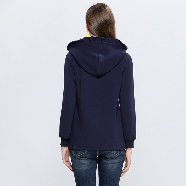 Plus Size Fashion Print Warm Hooded Sweater