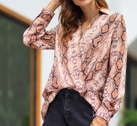 Stone Print Turn Down Collar Blouse