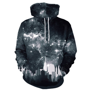 Ink Dark Starry Sky Printed Hooded Sweatshirt