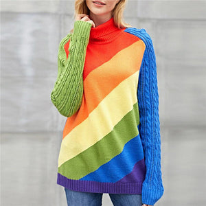 Loose Long Sleeve Multi-color Knit Sweter