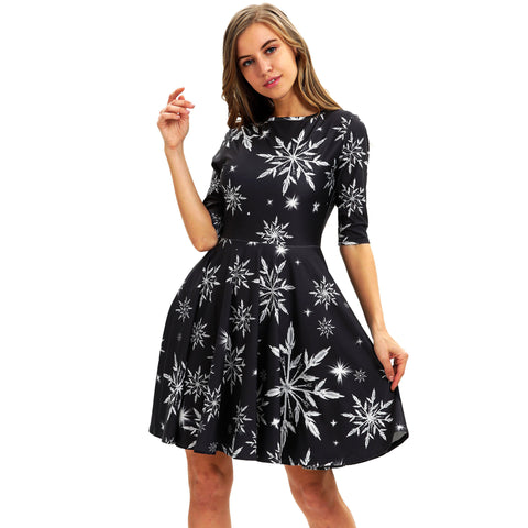 Snow Leaves Printed Casual High Waist Dress