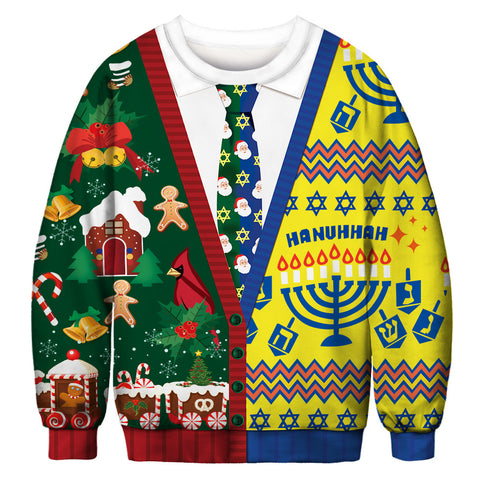 Funny Christmas Digital Printing Round Neck Loose Pullover Sweatshirt Sweater Top For Men Women