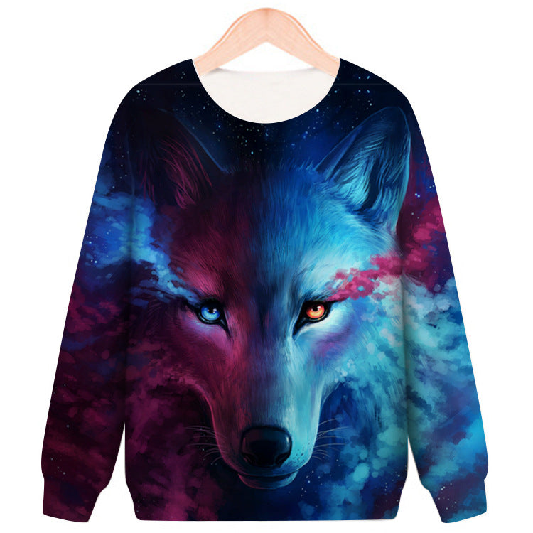 Wolf Printed Round Neck Casual Loose Sweatshirt