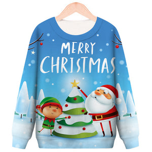 Merry Christmas Printed Round Neck Pullover Sweatshirt