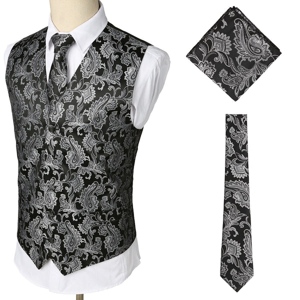 Casual Waistcoat Three-Piece Set: Printed Suit Vest/Breast/Tie
