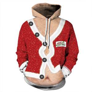 Belly Print Ugly Christmas Long Sleeve Hoodie Sweater Sweatshirt Jacket For Men Women