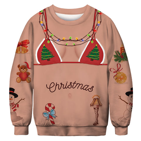 Fake Bikini Print Ugly Christmas Women Sweater Sweatshirt Shirt Top