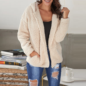 Plus Size Solid Color Pullover Zipper Plush Coat