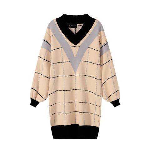 Loose Long Fashion Stitched Plaid V-neck Sweater