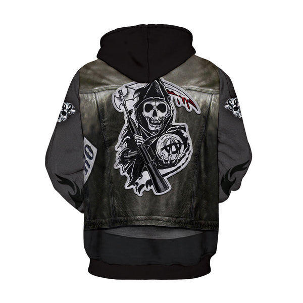 Skull  Pirate Men Hoodie Long Sleeve Sweatshirt