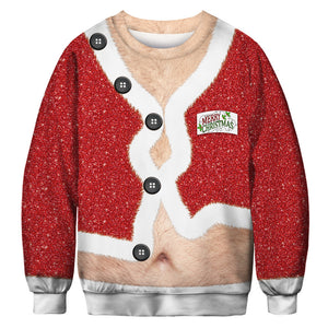Large Size Belly Ugly Christmas Men Sweater Long Sleeve Sweatshirt