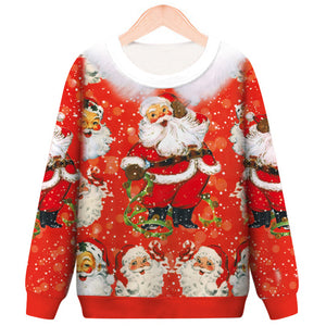 Santa Claus Printed Round Neck Casual Christmas Sweatshirt