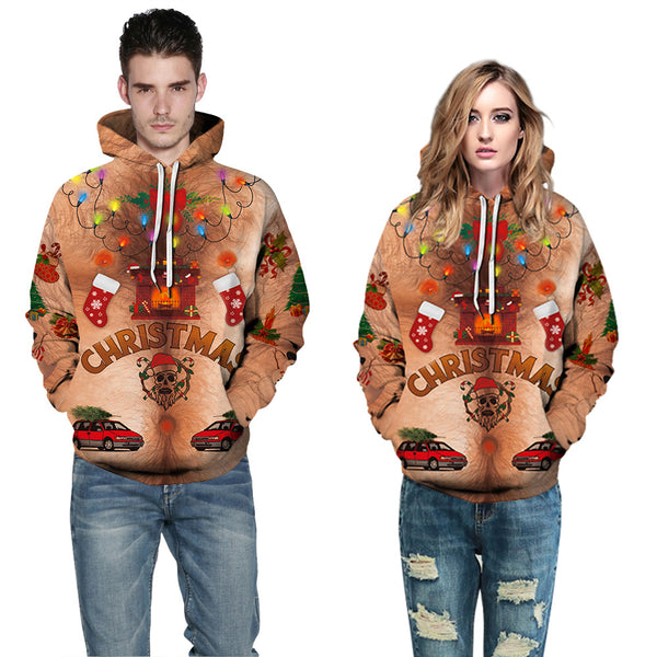 Fake Chest Hair Light Printed Ugly Christmas Hooded Sweater Sweatshirt Hoodie
