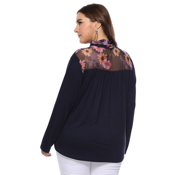 Mesh Patchwork Loose Long Sleeve Plus Size T-shirt