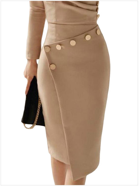 Asymmetric Button Detail Khaki Ruched Midi Dress