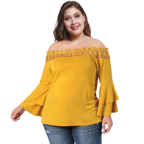 Plus Size Off Shouldr Lace Trim Peplum Tee