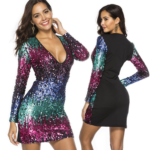 Long Sleeve Sequin Sheath Dress