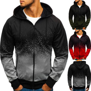 Plus Size Digital Print Hooded Jacket