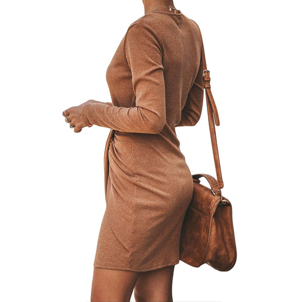 Sexy V-neck Solid Color Ribbed Pleated Slim Dress