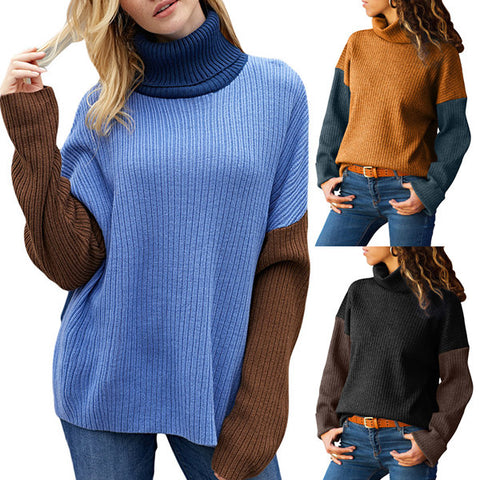 High Collar Long Sleeve Turtleneck Sweater
