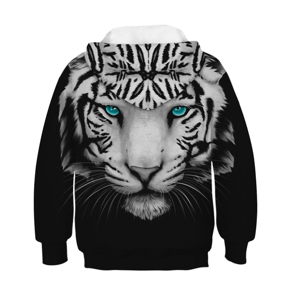 Children's Tiger Printed Hooded Sweatshirt