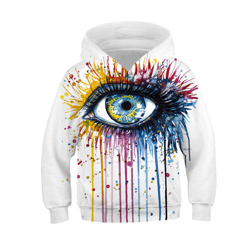 Children Eye Print Hooded Sweatshirt