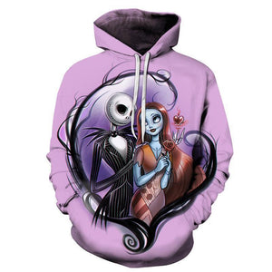 Nightmare Before Christmas Jack Skellington and Sally Hoodie Sweatshirt Jacket