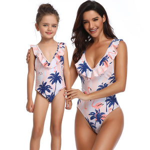 f6e4197ad61de Parent-child Swimsuit Family Matching Swimwear One Piece Swimwear