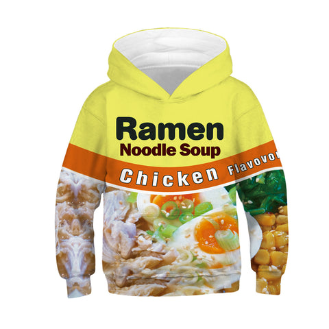 Children's Ramen Noodle Soup Print Hooded Sweatshirt