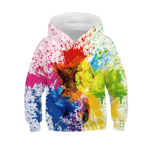 Children's Oil Painting Print Hooded Sweatshirt