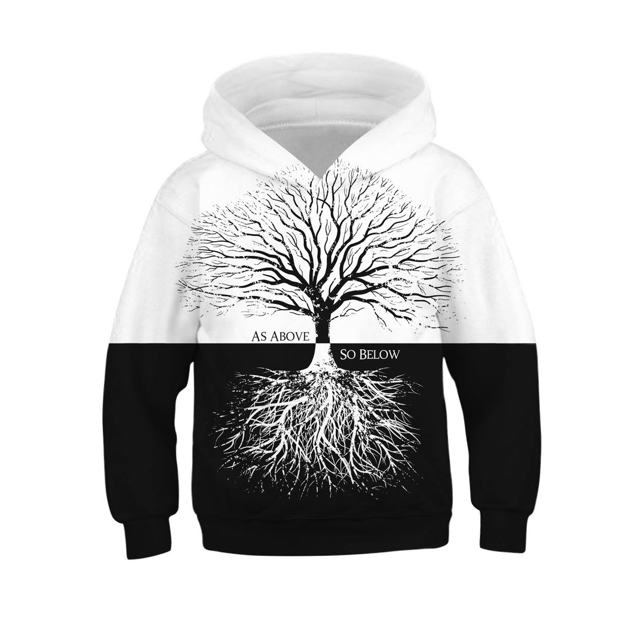 Children Tree Print Hooded Sweatshirt