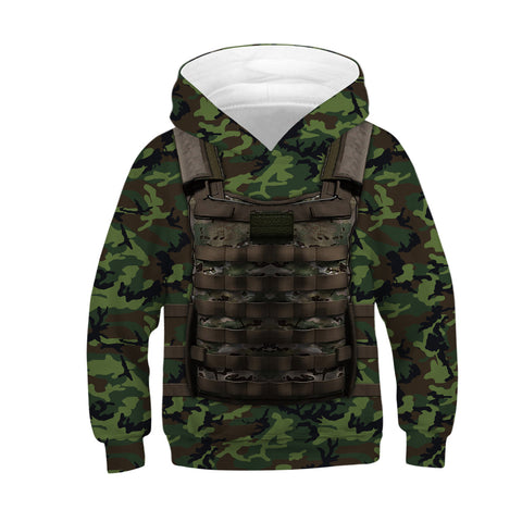 Children Armor Print Hooded Sweatshirt