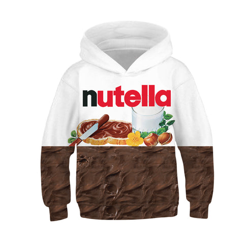 Children's Kids Nutella Print Hoodie Jacket Sweatshirt