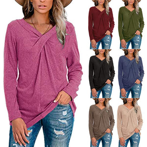 Women Plain Long Sleeve V Neck Cross Knot Casual Blouses Shirts Tunic Tops