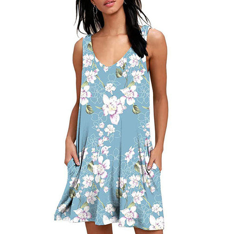 Summer Casual T Shirt Dresses Short Sleeve Swing Dress with Pockets
