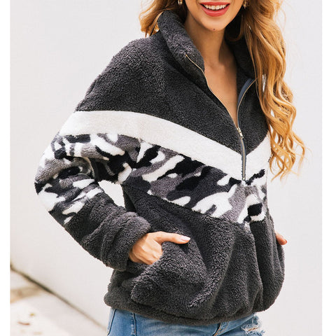 Fashion Print Camouflage Zipper Zip Pocket Sweatshirt
