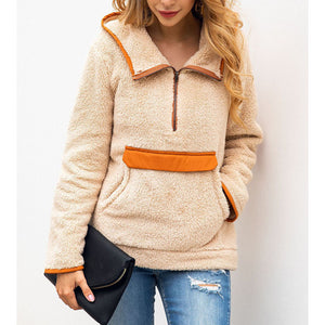 Stitching Pocket Hooded Blouse Woolen Coat