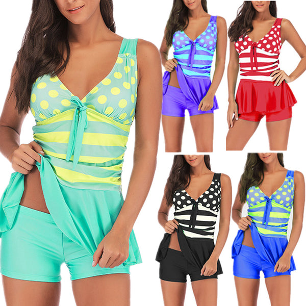 Polka Dot and Stripe Print Two-Piece Tankini Swimsuit