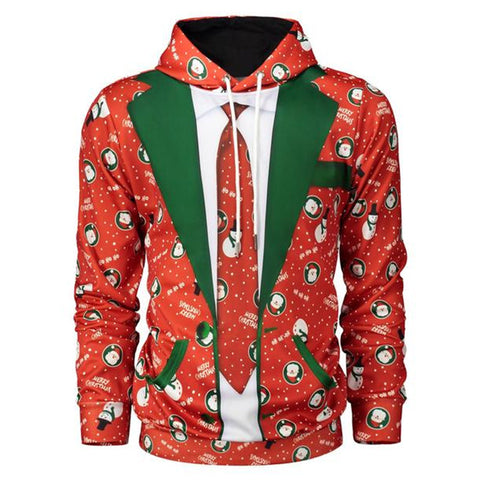 Ugly Christmas Tie Print Hoodie Sweater Jacket