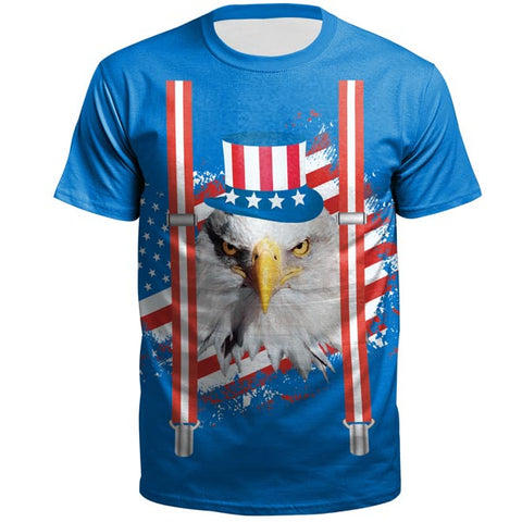 3D Flag Eagle Printed Short Sleeve T-shirt