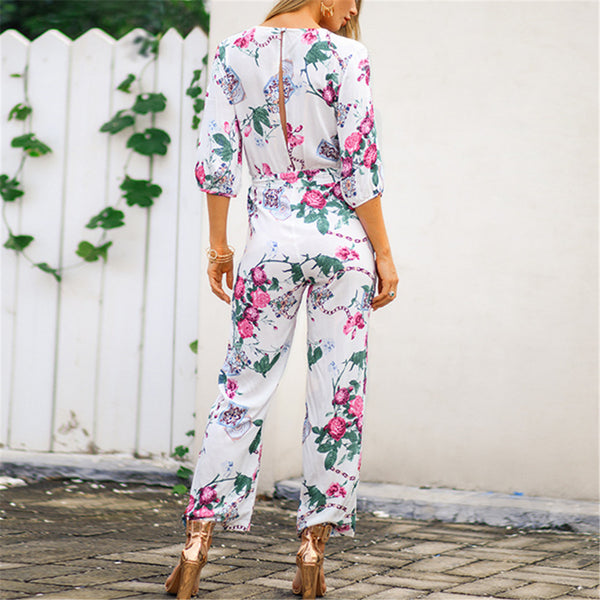 Vintage Cross V Neck Printed Women Jumpsuits